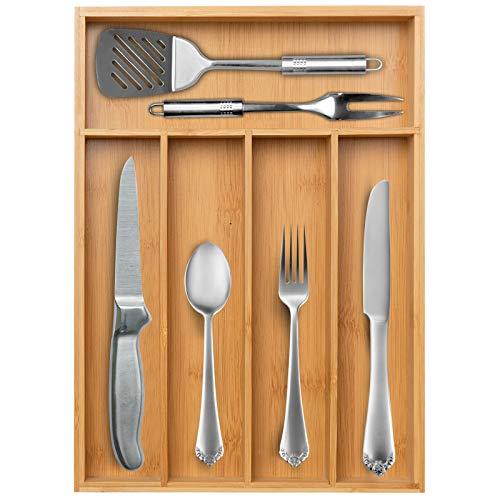 Secura Kitchen Drawer Organizer Bamboo Utensil Holder Cutlery Makeup Jewelry Silverware Tray for Kitchen Office Bathroom Closet Dresser