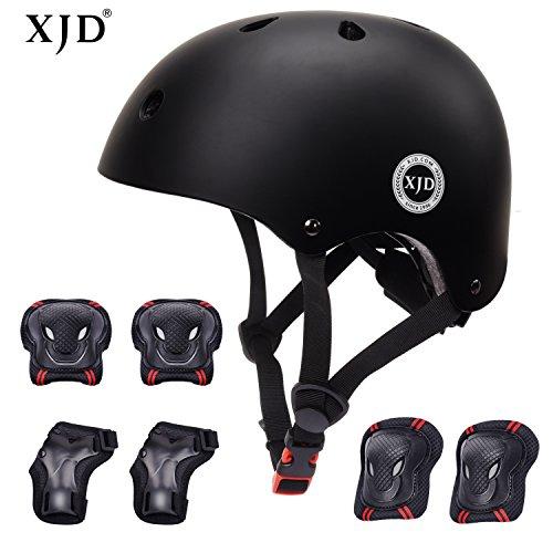 XJD Casco Bici Protezioni Set per Bambini Regolabile Gomitiere Polso Ginocchiere per Skateboard Pattini in Linea Bicicletta Protezione Bambina (Nero S)