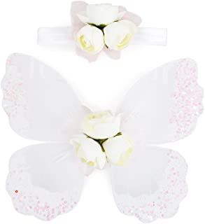 Stock Show Pet Dog Beautiful Blingbling Butterfly Wing Harness and Flower Headdress Pet Dog Princess Sweet Harness Ornament Dog Puppy Flower Bowtie Hair Accessories for Small Medium Dogs