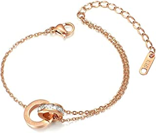 Rose Gold Ankle Bracelets for Women - Adjustable Dainty Roman number Anklet Plated in 18K Gold Perfect for Teen Girls,Ladi...