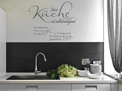Wandtattoo-bilder® Wandtattoo Sprüche Diese Küche ist selbstreinigend Nr 3 Küchendeko Küchenaufkleber Größe 80x65, Farbe Silber