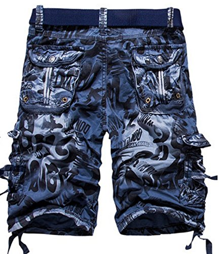 LOVECC Men's Cotton Loose Fit Multi Pocket Cargo Shorts Blue US: 38 size(Label 40)