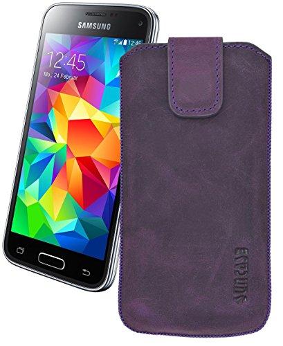 Suncase Original Tasche für Samsung Galaxy S5 / S5 Neo Leder Etui Handytasche Ledertasche Schutzhülle Case Hülle mit Zieh-Lasche