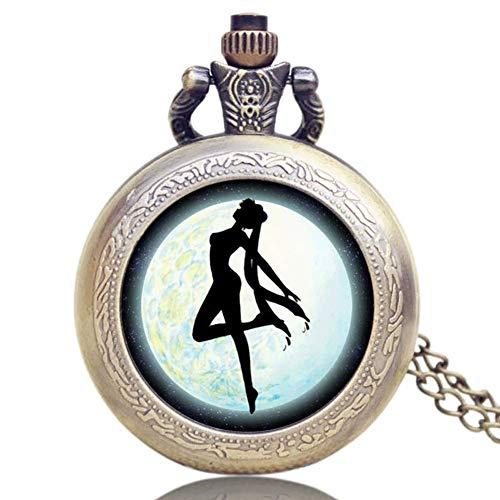 Reloj de bolsillo para mujer, diseño elegante, bonito soldado marinero luna, hermoso reloj de regalo para mujeres y niñas