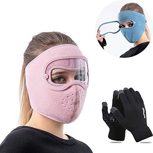 ZXZXC Casco protección Facial, Protección Facial antivaho, Casco Protector Facial Completo Prueba Polvo, Pasamontañas cálidos Invierno con protección para Ojos Hombres Mujeres (Pink)