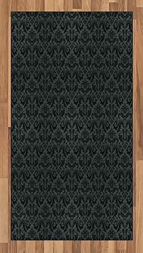 ABAKUHAUS Dark Grey Area Rug, Black Damask and Floral Elements Oriental Antique Ornament Vintage, Flat Woven Accent Rug for Living Room Bedroom Dining Room, 2.6' x 5', Black Grey