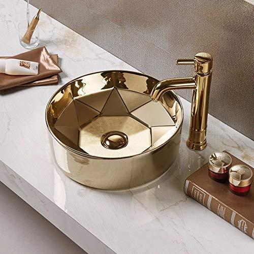 InArt Lavabo Sobre Encimera de Baño Lavabo Porcelana forma redonda de cerámica para baño Lavabo de Cerámica, Fregadero de sobre Encimera 40 x 40 x 15 CM (Color dorado)