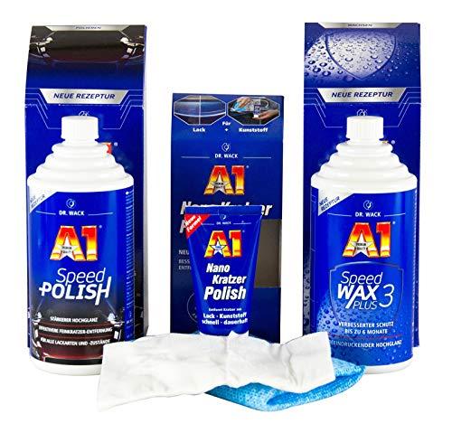 Dr. Wack A1 Speed Polish 500 ml & Speed Wax Plus 3 500 ml & Nano Kratzer Polish