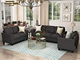 GAOPAN Home 3 Piece Living Room Furniture Set Include Upholstered Three Seaters Sofá, Loveseat and Armchair, Modern Polyester Blend Cover Tufted Back Cushion Sectional Sofa Couch, Black