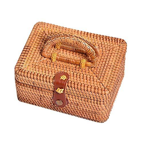 yaunli Rattan storage basket Jewelry Storage Box Small Rattan Suitcase Groceries Snack Candy Storage Box Basket For Decorative Shelf Gift Boxes Home decoration rattan storage basket