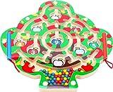 Toys of Wood Oxford Juguete de Laberinto Magnético del Manzano - Puzzle de Laberinto con 2 Bolígrafos Magnéticos y Bolas de iman de Colores - Juego de Habilidad Mental para 3 años y más