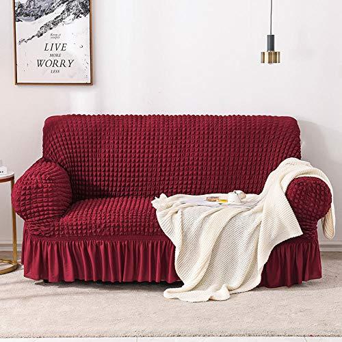 B/H Fundas de sofá de Esquina,Funda de sofá elástica Todo Incluido, Funda de sofá de Tela-Rojo_90-140cm,3 Plaza Funda de Sofá Elástico Cubierta