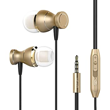 pTron Magg HBE (High Bass Earphones) Magnetic in-Ear Wired Headphones with Mic - (Gold)