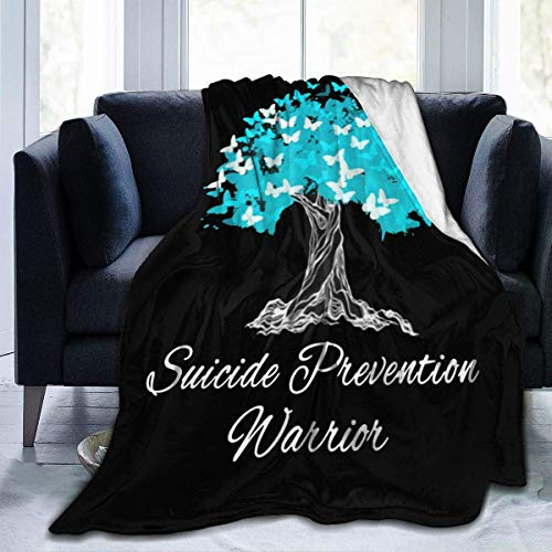 pppppokect Suicide Prevention Awareness Throw Blanket Ultra-Soft Micro Fleece Blanket Movies Blanket for Bed Couch Living Room