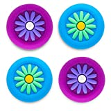 Playrealm Soft Rubber Silicone 3D Texture Thumb Grip Cover x 4 for PS5, PS4, Xbox Series X/S, Xbox One, Switch PRO Controller(Daisy Blue Purple Pack)