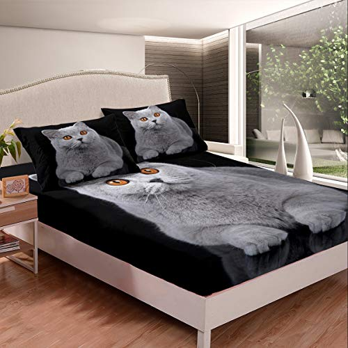 Tbrand Juego de sábanas de gato gris para niños y niñas, juego de ropa de cama con diseño de animales 3D, sábana bajera ajustable, colección de dormitorio, 2 unidades