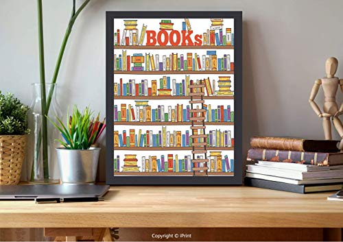 AmorFash №25005 Frame Art Wall,Modern,Library Bookshelf with A Ladder School Education Campus Life Caricature Illustration,Multicolor, Best for Gifts