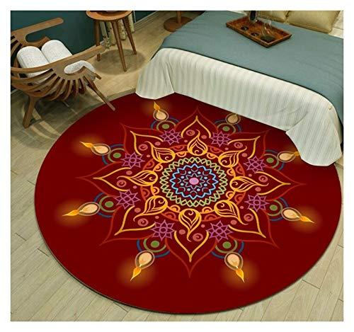 WZLL Large Traditional Round Area Rug Soft Machine Washable Living Room Carpet Restaurant Bedroom Bedside Carpet, Indoor Floor Area Mat (Color : 07, Size : Ø80cm)