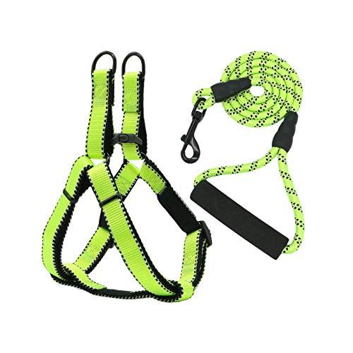 Arnés de correa para perro, correa ajustable, cuerda reflectante ajustable, forro Dog Arnés para perros grandes – Green-S-1.0(25-40 cm) 120 cm