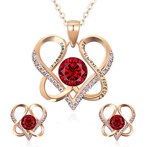 DYD Conjuntos de Joyas para Mujer, Chapado en Oro Set Collar y Pendientes de Cumpleaños Regalos para Esposa día de la Madre, Rojo