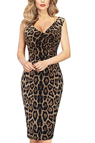 Vosujotis Frauen Im Leopardenmuster Kleid Fest Bodycon Ärmellosen Kleider Leopard L
