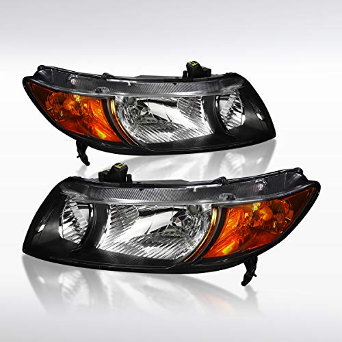 Autozensation For Honda Civic 2Door Coupe Black Clear Headlights w/Amber Reflector Pair