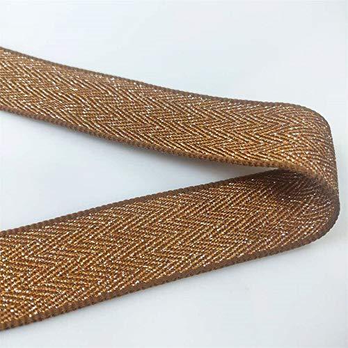 JINQIANSHANGMAO Cinchas Patrón Woven Webbing 2.5cm Wide Polyester Webbing Cintas de Nylon de Alambre de Plata para Ropa 1 Yarda (Color : Brown)