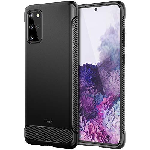 JETech Hülle für Samsung Galaxy S20+ 5G (2020), Tasche mit Stoßdämpfung und Carbon Faser, Schwarz