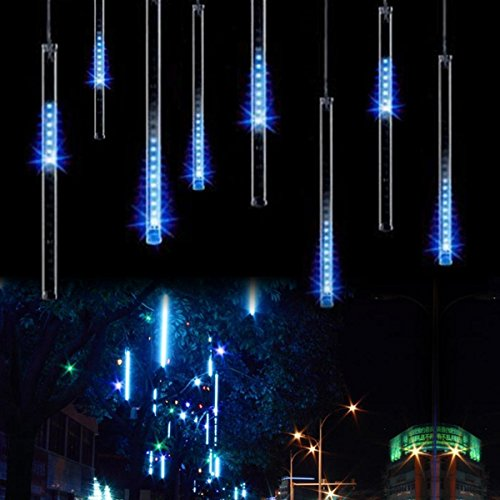 OMGAI Waterproof Meteor Shower Rain Lights - 30cm 8 Tubes Drop Icicle Snow Falling Raindrop Cascading Lights for Wedding Party Christmas, Shine Blue (UL Listed Plug)