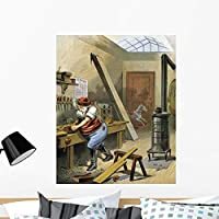 Wallmonkeys Illustration of Santa Claus Making Toys Wall Decal Peel and Stick Graphic WM203097 (36 in H x 29 in W) [並行輸入品]