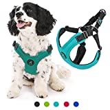 Gooby - Escape Free Sport Harness, Small Dog Step-In Neoprene Harness for Dogs that Like to Escape Their Harness, Turquoise, Medium