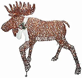 Brown Light-Up Grapevine Moose Sparking Lights 46