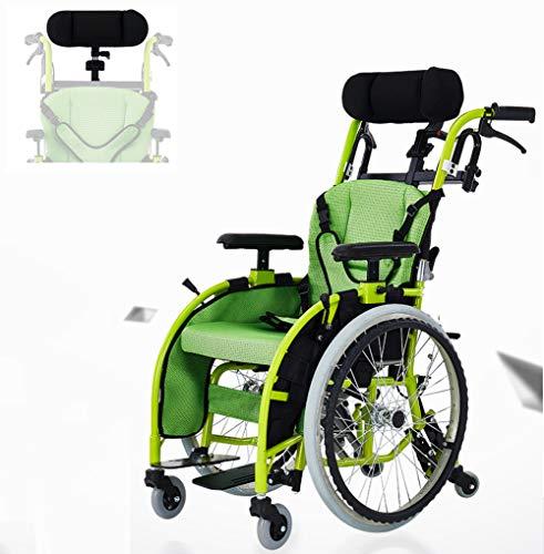 Multifunktionaler Leichter Kinderrollstuhl Mit Kopfstütze Sicherheitsgurt Zusammenklappbarer Tragbarer Behindertengerechter Wagen Mit Handbremsen,B
