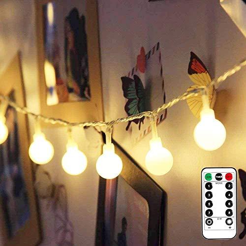 LE 50er LED Kugel Lichterkette 5M Dimmbar, Batteriebetrieben mit Fernbedienung, 8 Lichtmodi, Zeitschaltuhr und Merkfunktion, Warmweiß, ideale Weihnachtsbeleuchtung für Innen, Zimmer, Party, Deko usw.