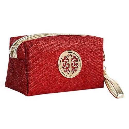 [Travel Cosmetic Case] Women Cosmetic Bag Travel Make Up Bags Fashion Ladies Makeup Pouch Neceser Toiletry Organizer Storage Wash pouch Case - modern style (Color : Red S)