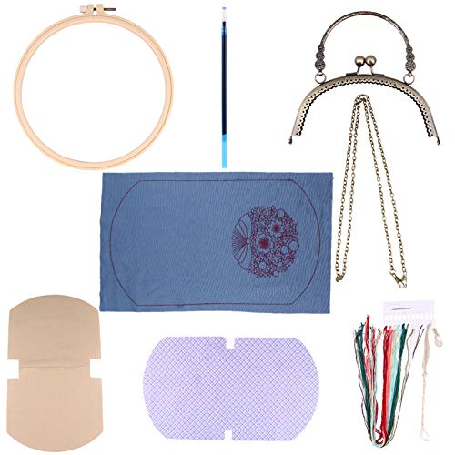 Healifty Embroidery Purse Making Kit Embroidery Pouch Making Material Supplie Kiss Lock Purse Mini Cosmetic Bag for DIY Crafts Woman and Girls Purple