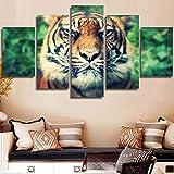 LZLZ 5 lienzos Arte de la Pared HD Lienzo póster Sala de niños caligrafía 5 Set Animal Tiger Estilo de Moda decoración del hogar Imagen Impresiones modulares Pintura