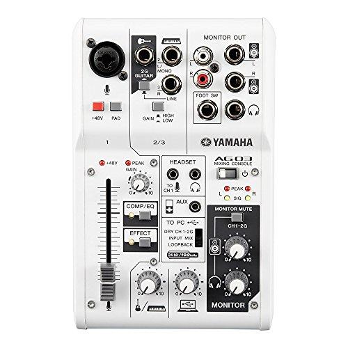 AG03 Mixer Audio Console Multifunzione, con Interfaccia Audio USB, 3 canali, per Registrazione Live, Streaming, Webcasting / Podcasting, Bianco