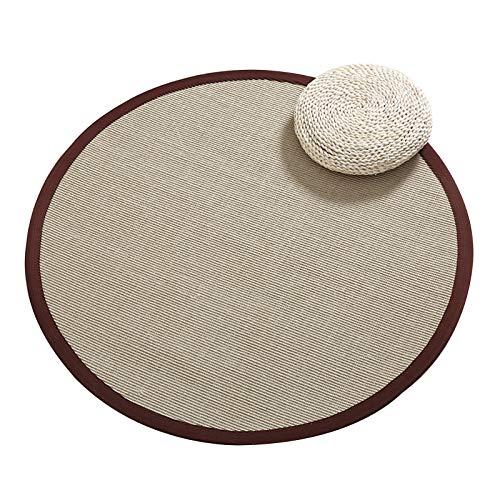 Tappeto Seagrass, Sisal Collassabile Il giro Tappetino giapponese, Tessuto non tessuto Ingresso Camera da letto Asilo materasso tatami, 10 mm, personalizzabile ( Color : C , Size : Diameter-80cm )
