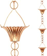 Tfro & Cile Cup Rain Chain Copper Gutter Downspout Substitution Decorative Garden Rainwater Diverter Home Decor, 8 1/2-Fee...