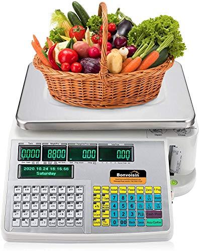 Bonvoisin Balance commerciale avec imprimante d'étiquettes et de reçus, écran double avant arrière, 40 touches d'accès direct pour supermarchés/magasins/entrepôts (30 kg)