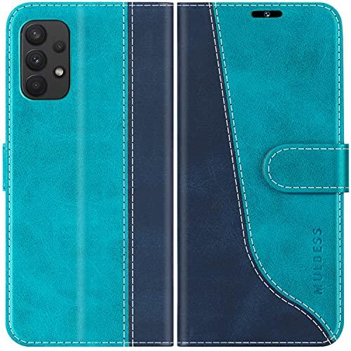 Mulbess Funda para Samsung Galaxy A32, Funda con Tapa Samsung Galaxy A32, Funda Samsung Galaxy A32 Libro, Funda Cartera para Samsung Galaxy A32 Carcasa, Azul Mint
