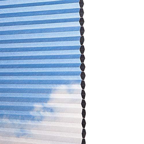 YXX-Persiana Plisada/Estor Plisado Claraboya Cortinas celulares sin Cuerda De Arriba hacia Abajo de Abajo hacia Arriba, Persianas enrollables Impermeables 100% para Ventana de Techo, Azul Cortina Pli