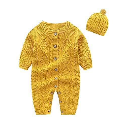 De feuilles Baby Strick Overalls Kleinkind Unisex Mütze Strampler Herbst Langarm Romper mit Zopfmuster Winter Cardigan Jumpsuits