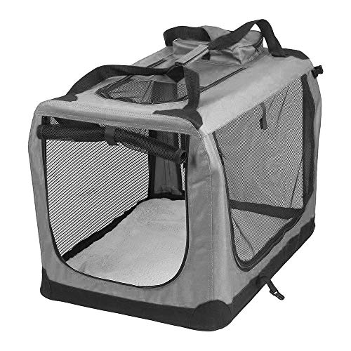 AVC Portable Soft Fabric Pet Carrier Folding Dog Cat Puppy Travel Transport Bag (Medium, Grey)