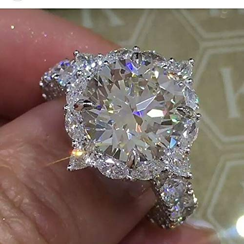 Metmejiao 925 Silver 3ct CZ Engagement Rings for Women Cubic Zirconia Promise Halo Engagement Ring Solitaire Engagement Ring (9)