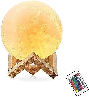 OCHO 3D Lámpara Luna, 16 Colores LED Luz Luna, Lampara Luna Nocturna Control Remoto & Táctil, Cargador USB Lámpara de Ambiente para Regalo de Fiesta,Regalo de San Valentín