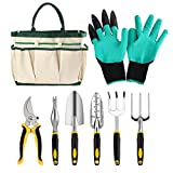 Erikord Garden Tools Set 8 Pieces - Aluminum Hand Tools Kit with Non-Slip Rubber Grip Gardening Gloves Storage Tote for Gardener
