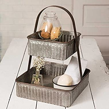 Rustic Industrial Farmhouse Chic Two Tiered Corrugated Square Tray