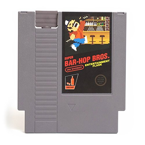 Ink Whiskey Concealable Entertainment System Flask  Looks Like a Retro Video Game Cartridge  But Its a Flask with a Hilarious Label (Super Bar-Hop Bros.)